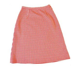 Vtg Handmade Red & White Houndstooth A-line Skirt
